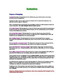 purposes of budgeting essay Money donated for a specific purpose must be used for that purpose budgeting and cash management are two areas of financial management of not-for-profit.