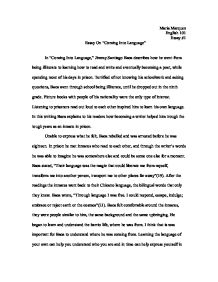 jimmy santiago baca coming into language essay Jimmy santiago baca coming into language please use examples from baca's essay and your own observations in bricklayer's boy,.
