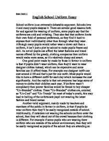 Persuasive essay about school uniforms
