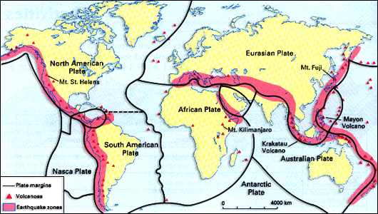 The global distribution of geophysical hazards a level geography fig4 shows the distribution of earthquakes and volcanoes and how they are linked to the tectonic plate margins gumiabroncs Gallery