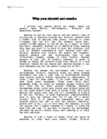 essay on why people should not smoke