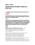 equality diversity and rights in health care social work essay Level 3 - unit 2 equality diversity and rights in health and social care p1 - explain   women still earn less than men for similar work and find difficulty in breaking.