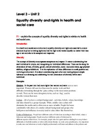 equality diversity and rights in health and social care essays  equality diversity and rights in health and social care essays