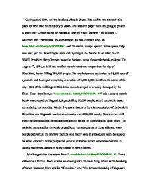 essay on Hiroshima Bomb