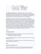 why did the cold war start a level history marked by teachers com the origins of the cold war