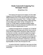 a comparison of newspaper articles four editorials essay