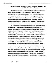 essay on role of member of parliament To little extent = pm patronage is much stronger under the coalition as members of government and the commons are obliged to vote with the party on any issue brought to parliament as loyalty repays well in politics through promotions and more responsibility and disloyalty can harm a politicians career has.
