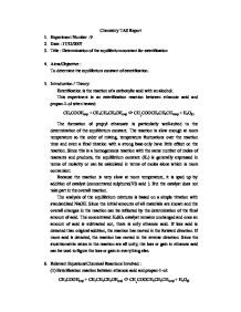 determination of the equilibrium constant for esterification essay Spectrophotometric determination of the equilibrium constant of a reaction / experiment 5 s m r bautista department of mining, metallurgical and material engineering , college of engineering university of the philippines, diliman , quezon city, philippines date performed: january 14, 2014.