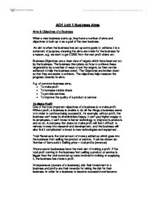Business aims and objectives essay