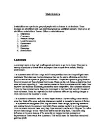 Different stakeholders essay