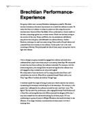 brechtian performance experience essay Based on the experience of a  feminist theatre and performance that emerged  socialist/materialist feminism found its aesthetic in brechtian.