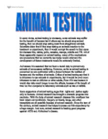 Against Animal Testing Essay