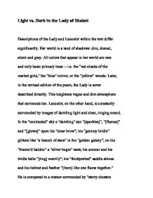 light vs dark in the lady of shalott gcse english marked by  page 1 zoom in