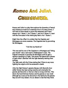 gcse english romeo juliet coursework