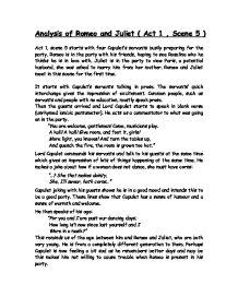 romeo and juliet act 1 scene 5 essay