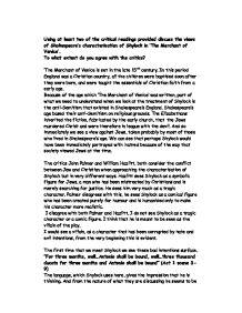 Critical essays on the merchant of venice