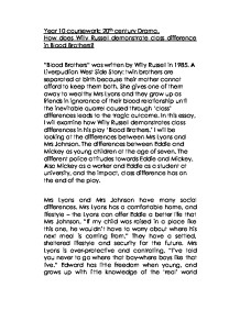 blood brothers essay on class Free blood brothers papers by willy russell - blood brothers the class was divided into 3 groups of blood brothers essay define and discuss the.
