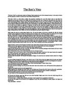 the sons veto essay The sons veto essay sample this story takes place in late nineteenth century, the elizabethan period the rank system was strongly prevailed this story is about a woman, first a parlor's maid then a vicar's wife.