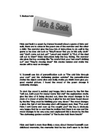 hide and seek by vernon scannell poem on a childhood game essay Hide and seek by vernon scannell talks about a child's exciting experience playing the traditional game hide-and-seek it conveys a subtle message that over-confidence may lead us into ultimate failure even if success seems just around the corner.