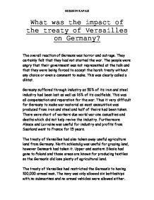 Treaty of versailles essay summary