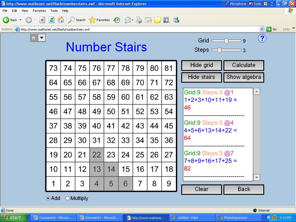 gcse maths coursework number grids