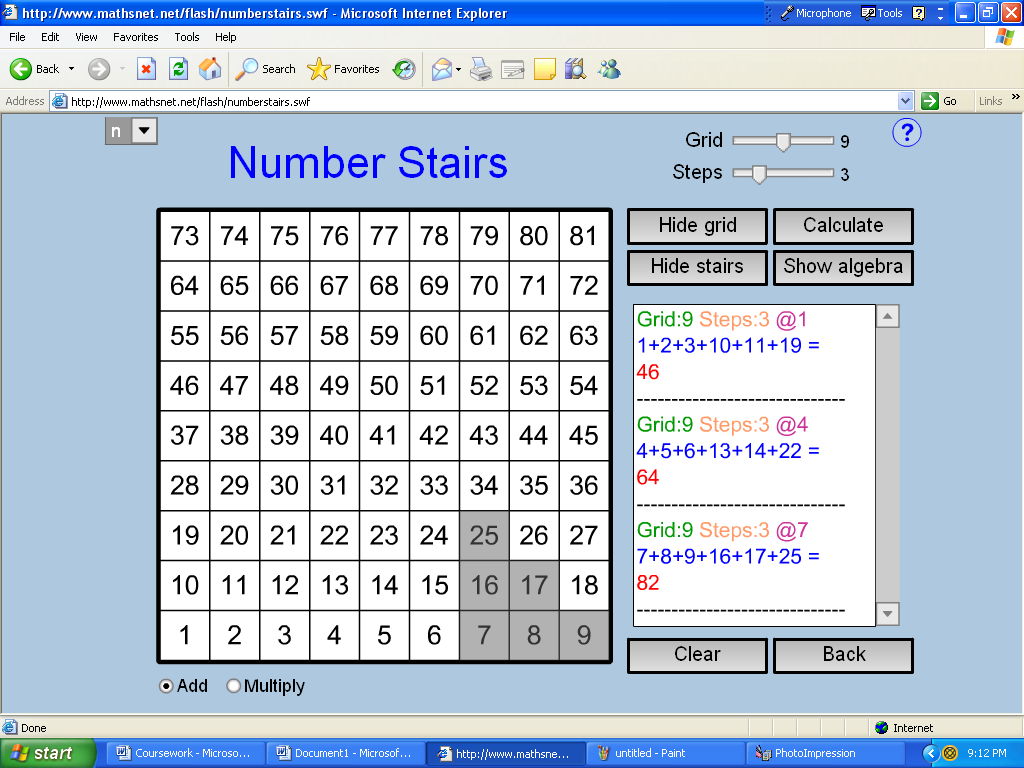 number stairs coursework Number stairs coursework – gcse maths – marked by teacherscom number stairs coursework aim: this student written piece of work is one of many that can be found in our gcse number stairs, grids and sequences section.