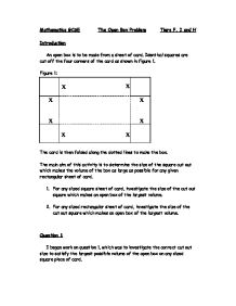 open box maths coursework Volume of open box made from rectangle with squares cut out - duration: 5:47 mario's math tutoring 1,656 views.