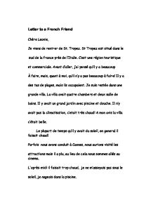 Sample Letter To A Friend In French. Page 1 Zoom in Letter to a French Friend  GCSE Modern Foreign Languages Marked