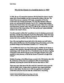 1906 election essay The liberal election victory of 1906 essay 1387 words | 6 pages government and produced a psychological shock also as chamberlain lost to the radical cause by his.
