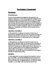 Psychology memory coursework