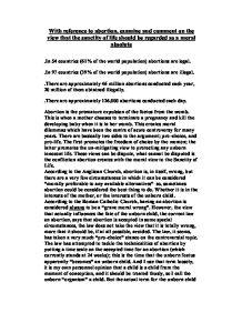 Sanctity of life abortion essay