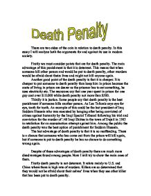 persuasive essay capital punishment death penalty Free research that covers introduction capital punishment is defined as the legal infliction of the death penalty the death penalty is corporal punishment in its.