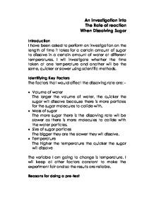 Sugar dissolving essay