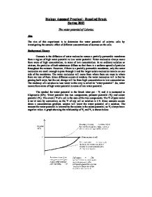 investigating the water potential of a Free essay: investigating the water potential of a potato aim osmosis is the  movement of water molecules from a region of high water.