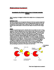 biology coursework on catalyse essay Enzyme coursework ib essay on ib biology enzymes ia coursework essay using these four passages and your.
