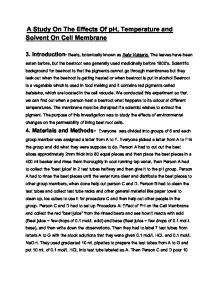 Cell Membranes and Temperature Sample Essay