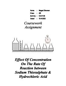 rates of reaction coursework mark scheme