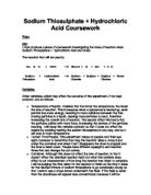 investigating the rate of reaction between sodium thiosulphate and hydrochloric acid coursework Pdf investigating the rate of a reaction investigating the rate of a rate of reaction coursework sodium thiosulphate and hydrochloric acid will.