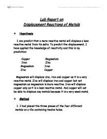 chemistry displacement reactions essay Essays on displacement reaction we the witting reaction is a chemical test that examines the chemical reaction that occurs when the displacement reaction.