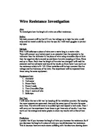 resistance of a wire 6 essay 1879 words 6 pages resistance of wire essay length of wire is fixed  resistance of a wire coursework introduction (theory).
