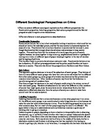 sociological perspective of crime Publications stay informed this chapter on sociological perspectives on delinquent behavior discusses social-control theories and delinquency critical or radical criminology theories tend to explain crime and delinquency in terms of the relationship between capitalism and criminal and.