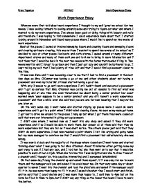 work experience essay when we were first told about work  page 1 zoom in