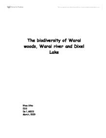 the biodiversity of warai woods, warai river and dixel lake essay Thursday night overnight open thread (12/1/16)  tonight's ont has been brought to you by diversity  warai-otoko at december 01, 2016 11:03 pm (sk2fh) .