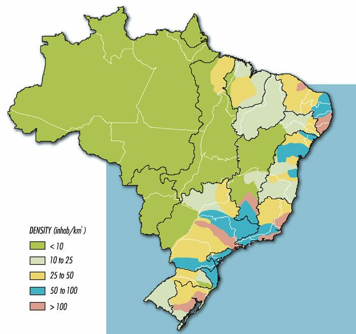 Population In Brazil International Baccalaureate Geography - Brazil population map
