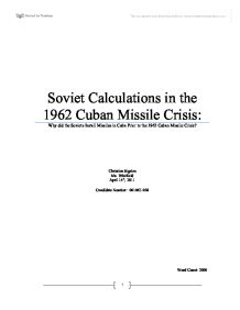 an introduction to the history of the cuban missile crisis and its management The executive committee of the national security council was a body of united states government officials that convened to advise president john f kennedy during the cuban missile crisis in 1962 it was composed of the regular members of the national security council, along with other men whose advice the.