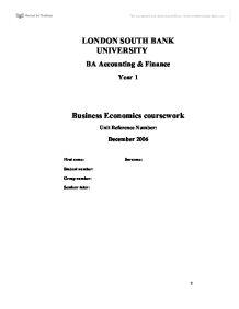 Business economics coursework