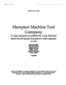 hampton machine tool Access to case studies expires six months after purchase date publication date: april 01, 1980 a bank lending officer must decide whether to extend and increase a loan to a small machine.