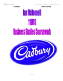 cadburys business assignment Cadbury company harvard case study solution and analysis of harvard business case studies solutions - assignment helpin most courses studied at harvard business schools, students are provided with a case study.