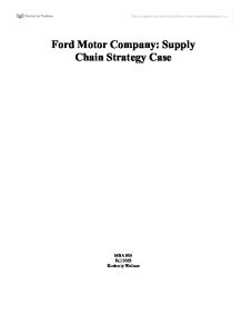 Ford motor company supply chain strategy case for Ford motor company marketing strategy