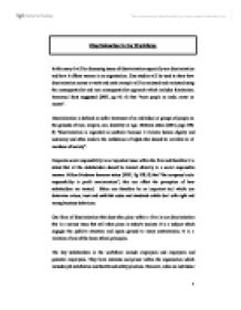 an essay on job discrimination in the workforce Discrimination in the workforce in this essay i will be discussing issues of discrimination especially sex discrimination and employment law - sex discrimination.
